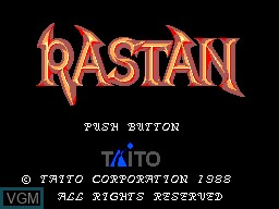 Title screen of the game Rastan on Sega Master System