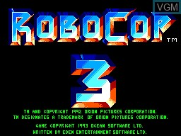 Title screen of the game Robocop 3 on Sega Master System