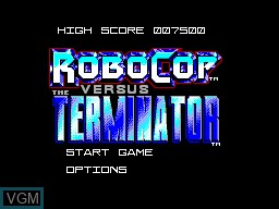 Title screen of the game Robocop versus The Terminator on Sega Master System