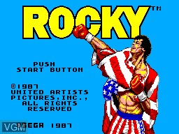 Title screen of the game Rocky on Sega Master System