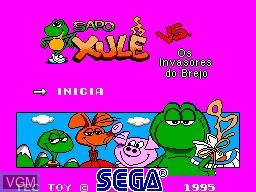 Title screen of the game Sapo Xule vs. os Invasores do Brejo on Sega Master System