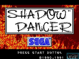 Title screen of the game Shadow Dancer on Sega Master System