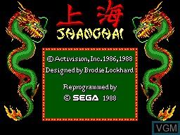 Title screen of the game Shanghai on Sega Master System