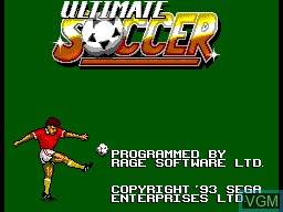 Title screen of the game Ultimate Soccer on Sega Master System
