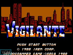 Title screen of the game Vigilante on Sega Master System