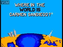 Title screen of the game Where in the World is Carmen Sandiego on Sega Master System