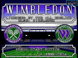 Title screen of the game Wimbledon on Sega Master System
