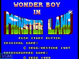 Title screen of the game Super Wonder Boy - Monster World on Sega Master System