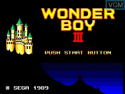Title screen of the game Wonder Boy III - The Dragon's Trap on Sega Master System