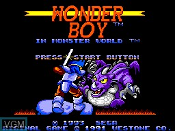 Title screen of the game Wonder Boy in Monster World on Sega Master System