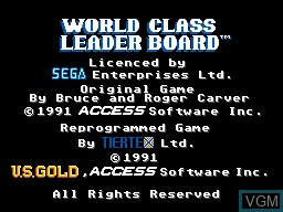 Title screen of the game World Class Leaderboard on Sega Master System