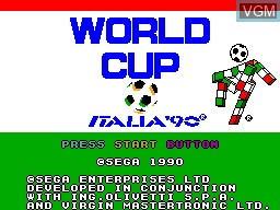 Title screen of the game World Cup Italia '90 on Sega Master System