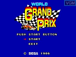 Title screen of the game World Grand Prix on Sega Master System
