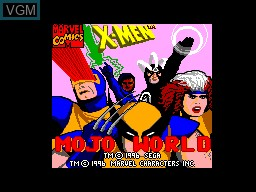 Title screen of the game X-Men - Mojo World on Sega Master System
