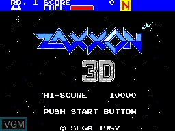 Title screen of the game Zaxxon 3D on Sega Master System