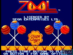 Title screen of the game Zool on Sega Master System