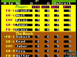 Menu screen of the game Pat Riley Basketball on Sega Master System