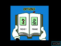 Menu screen of the game Mickey's Ultimate Challenge on Sega Master System