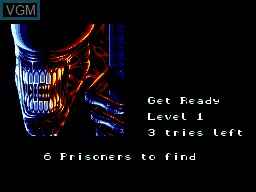 Menu screen of the game Alien 3 on Sega Master System