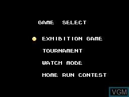 Menu screen of the game American Baseball on Sega Master System