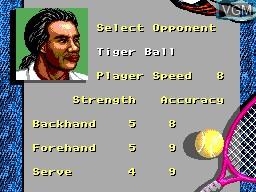 Menu screen of the game Andre Agassi Tennis on Sega Master System