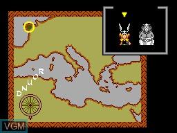 Menu screen of the game Asterix on Sega Master System