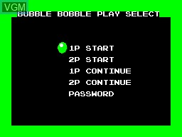 Menu screen of the game Bubble Bobble on Sega Master System
