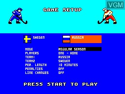 Menu screen of the game Championship Hockey on Sega Master System