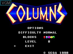 Menu screen of the game Columns on Sega Master System