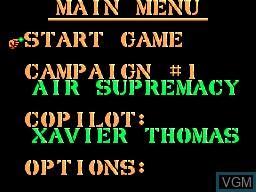 Menu screen of the game Desert Strike on Sega Master System