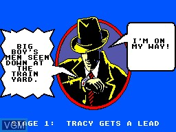 Menu screen of the game Dick Tracy on Sega Master System