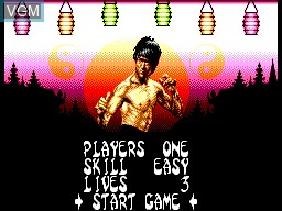 Menu screen of the game Dragon - The Bruce Lee Story on Sega Master System