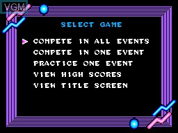 Menu screen of the game Game Box Esportes Radicais on Sega Master System