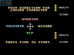Menu screen of the game Gauntlet on Sega Master System