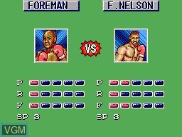 Menu screen of the game George Foreman's KO Boxing on Sega Master System