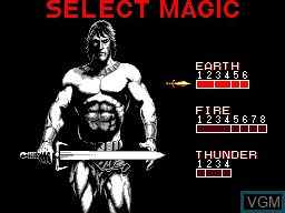 Menu screen of the game Golden Axe on Sega Master System