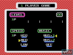 Menu screen of the game Dr. HELLO on Sega Master System