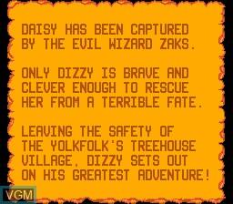 Menu screen of the game Fantastic Dizzy on Sega Master System