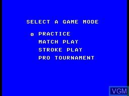 Menu screen of the game Golf Mania on Sega Master System