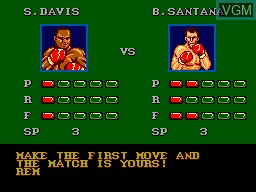 Menu screen of the game Heavyweight Champ on Sega Master System