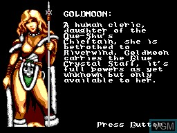Menu screen of the game Heroes of the Lance on Sega Master System