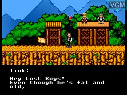 Menu screen of the game Hook on Sega Master System