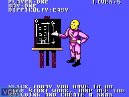 Menu screen of the game Incredible Crash Dummies, The on Sega Master System