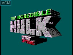 Menu screen of the game Incredible Hulk, The on Sega Master System