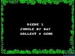 Menu screen of the game Jungle Book, The on Sega Master System