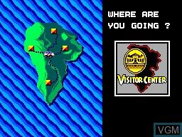 Menu screen of the game Jurassic Park on Sega Master System