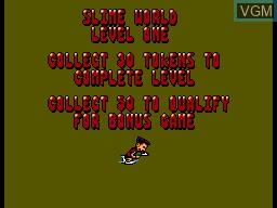 Menu screen of the game Mick & Mack as The Global Gladiators on Sega Master System