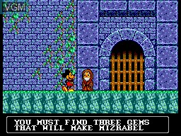 Menu screen of the game Castle of Illusion Starring Mickey Mouse on Sega Master System