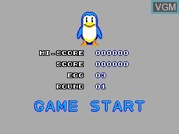 Menu screen of the game Penguin Land on Sega Master System