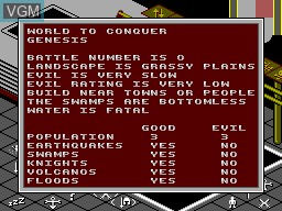 Menu screen of the game Populous on Sega Master System